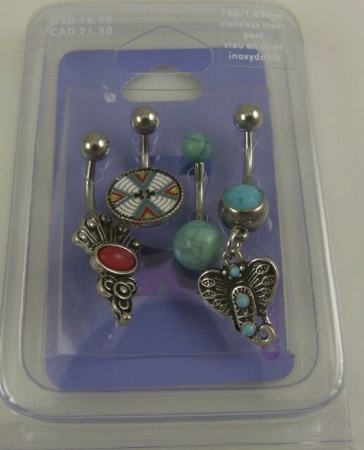 southwest theme set of 4 belly button ring, piercing, body jewelry faux turquois