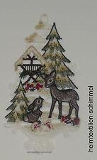 PLAUENER STICKEREI Fensterbild REH Fensterbilder HASE Weihnachten WINTER Wald
