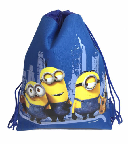 Dreamworks Minions Drawstring Theme Park Tote Bag School Backpack Gym Bag Blue