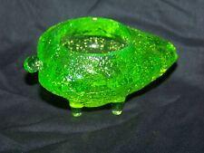 GREEN  VASELINE GLASS URANIUM FOOTED STRAWBERRY SALT  TABLEWARE  (( ID121233 ))