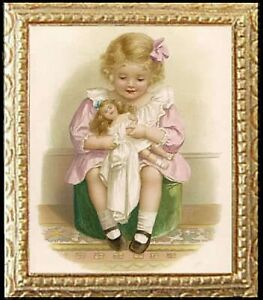 FAST DELIVERY GIRL WITH FLOWERS Dollhouse Miniature Picture MADE IN AMERICA