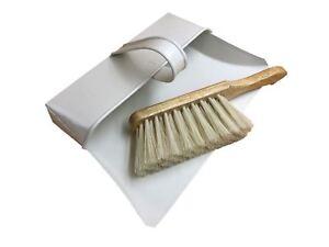 Metallo-tradizionale-Scopa-e-Brush-Set-Elegante-Crema-Polvere-Pan-Soft-Hand-Brush