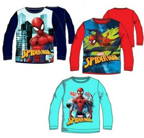 Turquoise 3j//4j//6j//8j NEUF Rouge Disney Marvel Spiderman Chemise Manches Longues Bleu
