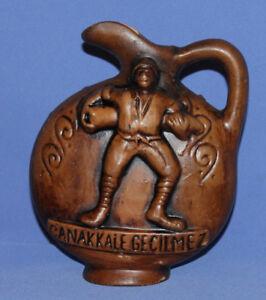 Vintage-Turkish-Ornate-Redware-Pottery-Pitcher