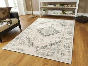 Traditionnel-effet-vieilli-Zone-Tapis-8x10-Grand-Tapis-de-salon-5x8-Gris-Ivoire