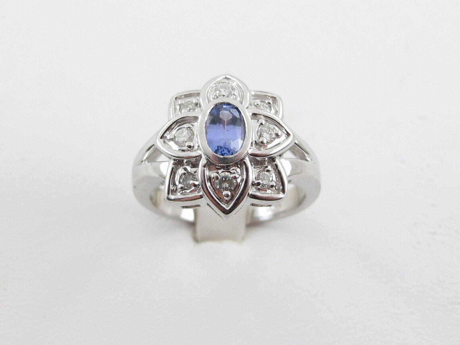 14k White gold Tanzanite And Diamond Ring Size 7 3 4