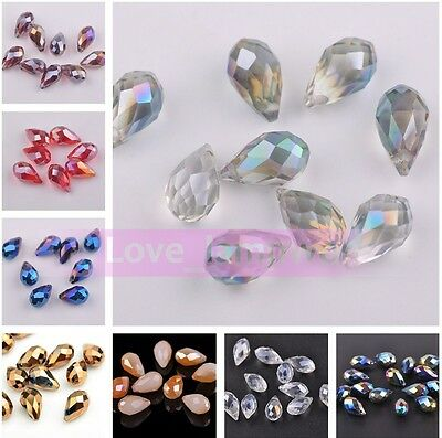 10pcs 13x8mm Faceted Teardrop Glass Crystal Charms Pandent Spacer Finding Beads