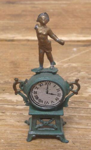 Antique Maison de Poupée Miniature Français Horloge Depose Statue Manteau 30