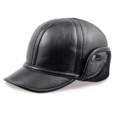 New 100% GENUINE Leather Ivy Cap Mens Gatsby Hat Driving Flat Warm Ear Fur lined