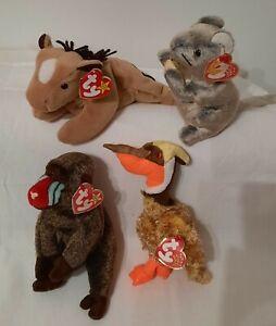 4 new w tag TY Retired beanie babies: cheddar cheeks derby horse glider dinosaur