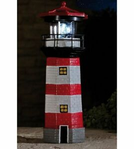 abbort LED Solar Powered Lighthouse Waterproof Statue Rotating Garden Yard Outdoor Lighting Decor
