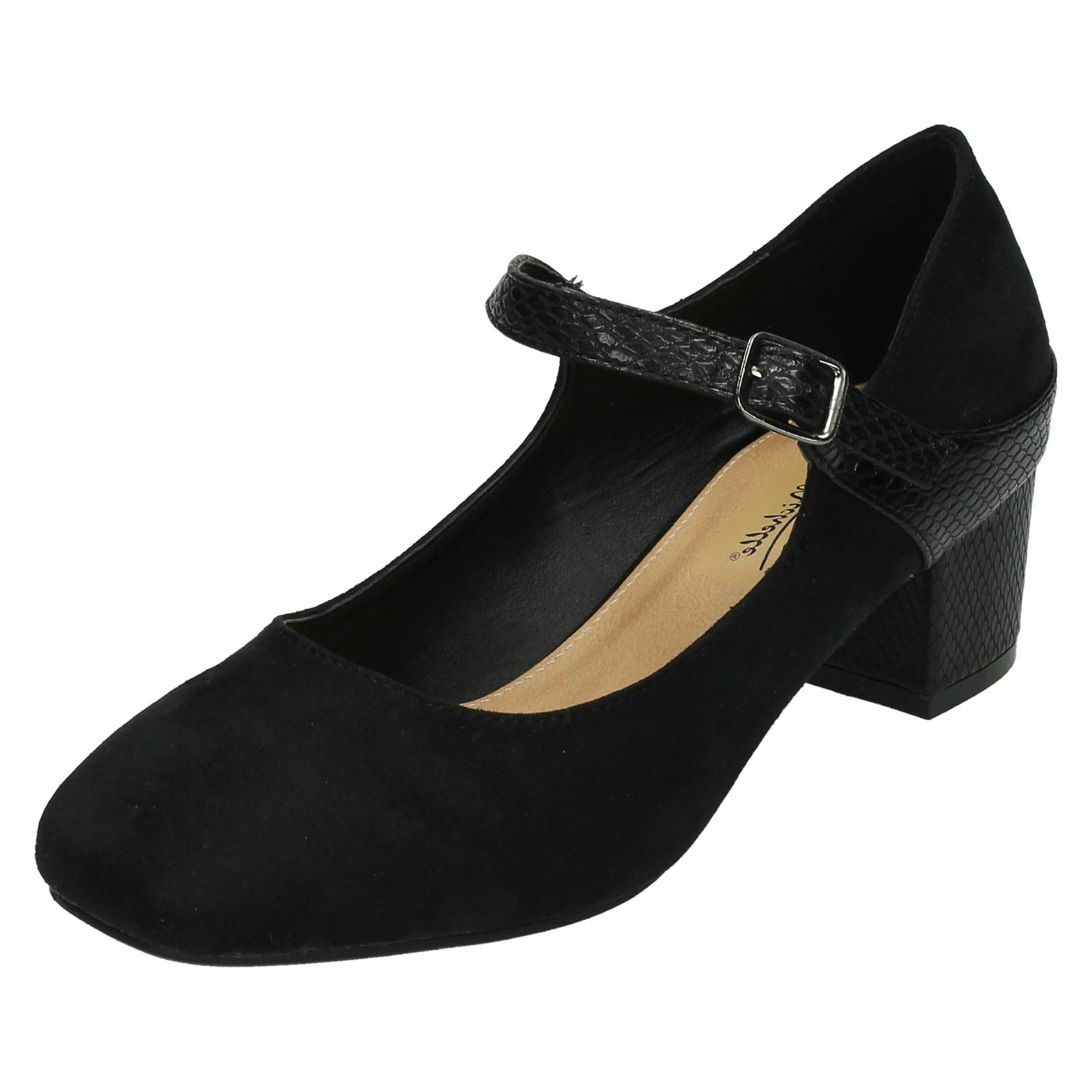 Ladies Anne Michelle Wide Fitting Shoes Mid Heel Mary Jane Shoes Fitting a96d71