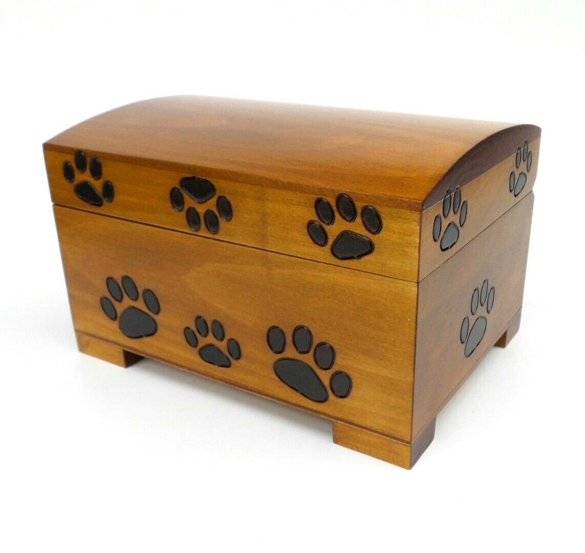Pet Urn Paw Print Wood Box Cat Dog Cremation Ashes Wood Chest Large Memorial Box
