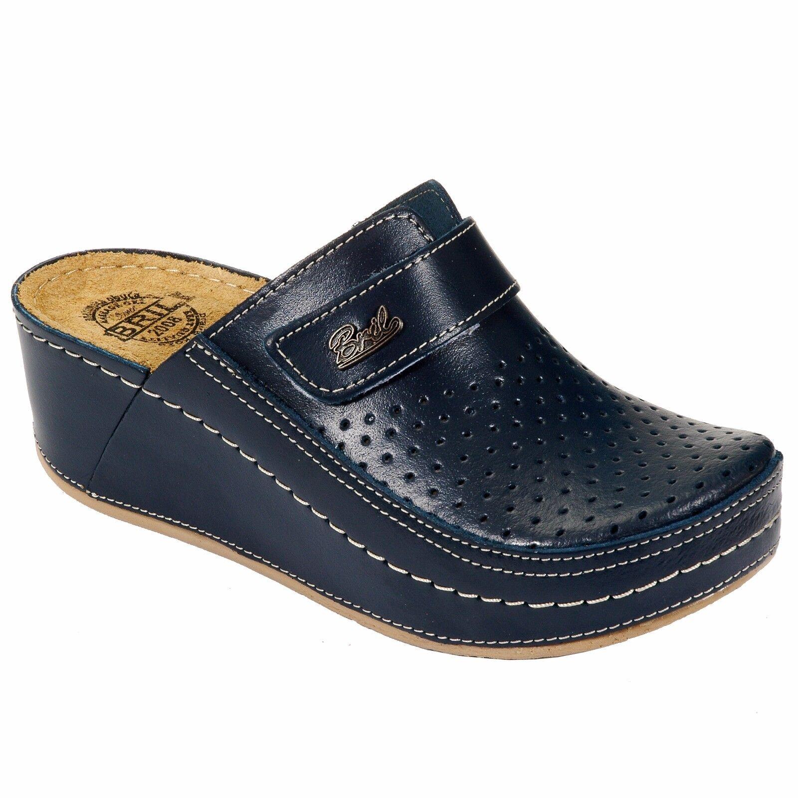 DR PUNTO ROSSO ECO IN PELLE DONNA D130 Slip On Clogs Pantofole Scarpe, Blu