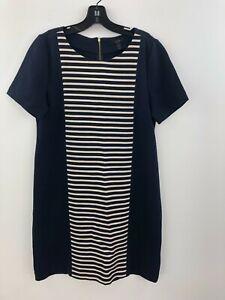J Crew Shift Shirt Dress Women 10 Navy Blue Striped Short Sleeve Gold Zip A49-08
