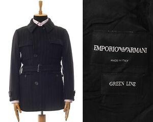 Mens-EMPORIO-ARMANI-Belted-Coat-Jacket-Wool-Striped-Black-Size-38-48-M