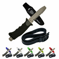Blunt Tip Stainless Steel Scuba Diving Divers Knife With Rubber Straps Handle