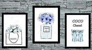 Set-of-3-Coco-Wall-Art-Prints-A4-Dressing-Room-Bedroom-Poster-UK-blue