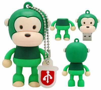 1pc 16gb Monkey Green Keychain Usb Flash Thumb Drive Usa Shipper