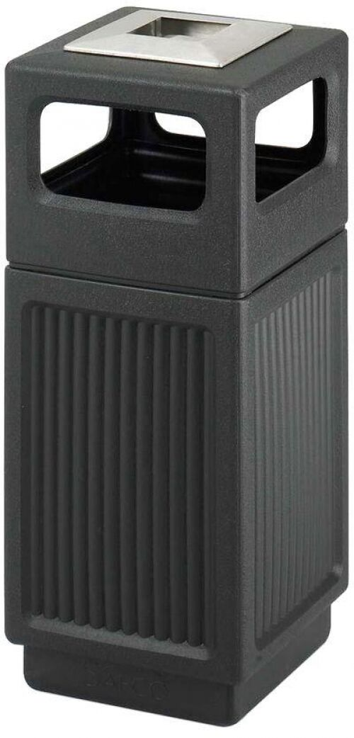 15 Gallon Steel Trash Can Garbage Waste Receptacle Outdoor Metal Bin Basket NEW