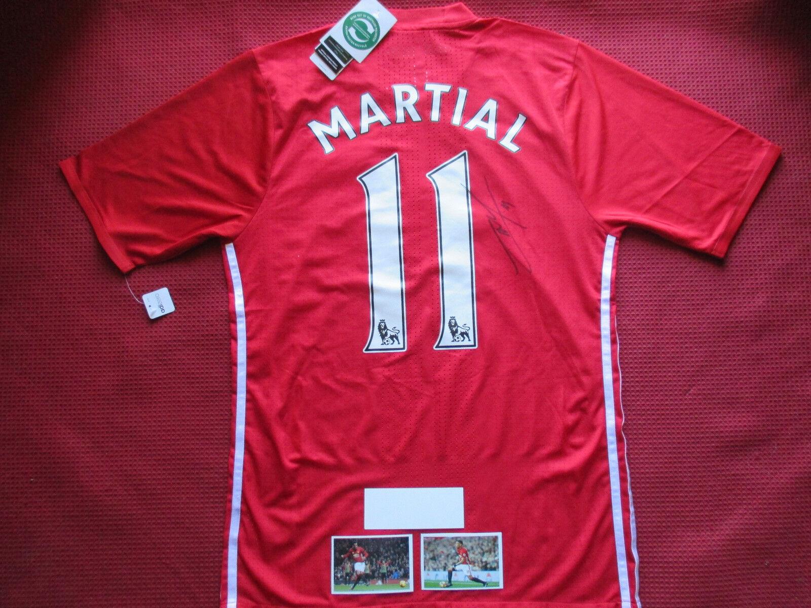 Manchester United Anthony Marcial firmado Hogar Camiseta Jersey 2016 17 - a prueba de foto