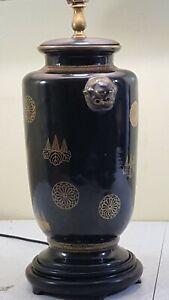 Vintage-Hand-Painted-Asian-Dragon-Theme-Ceramic-Table-Lamp-Dark-Brown-Black-Gold