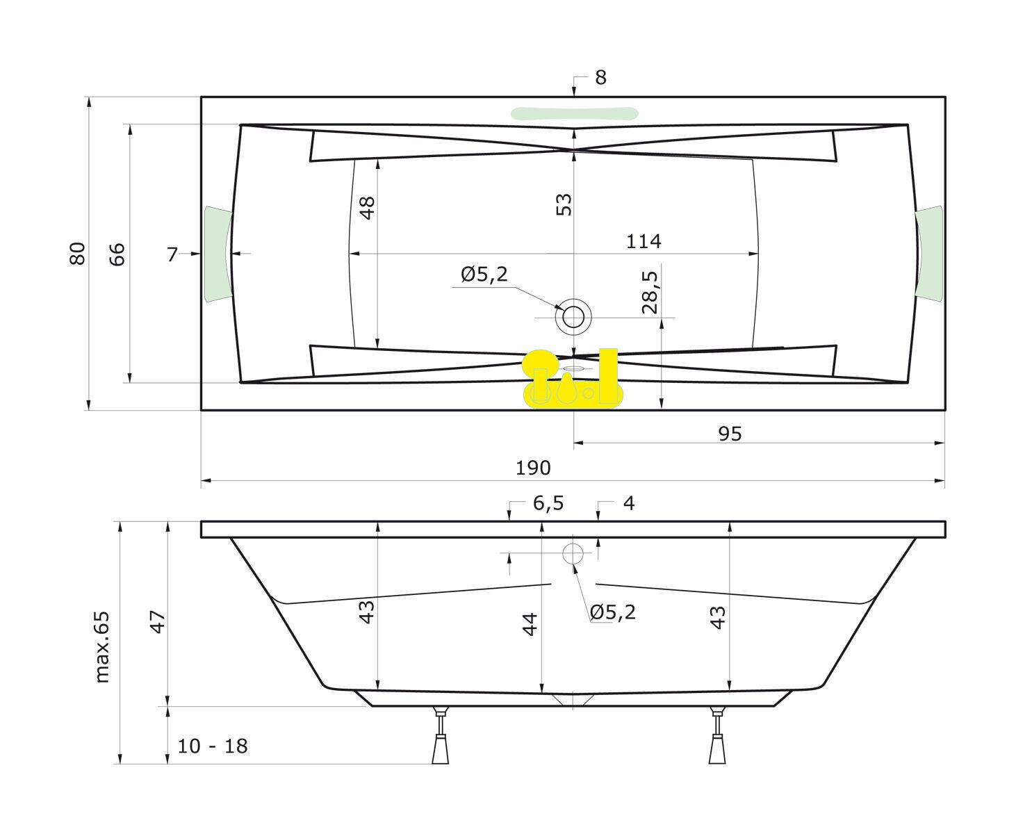 Badewanne 190x80 cm + Füße + Ablauf Ablauf Ablauf + Befestigung Wanne 190 Komplettangebot a45b5b