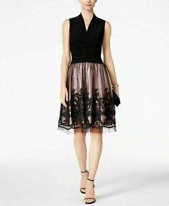 SLNY-Fashion-Women-039-s-Illusion-Cocktail-Party-Lace-Sleeveless-Dress-Size-14