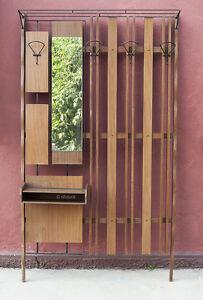 Appendiabiti Ingresso A Muro.Dettagli Su Ingresso Appendiabiti Muro Attaccapanni Vintage Anni 50 Legno Ferro Specchio 1l2