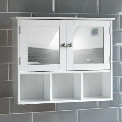 Milano Bathroom Mirror Cabinet Double Door Shelves Wall Mounted Cupboard White