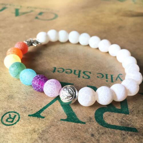 Chakra Bracelet 7 WHITE with ELEPHANT CHARM Fashion Healing Bracelet Jewelry