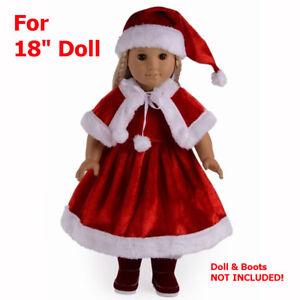 image is loading american girl christmas santa dress hat cloak red