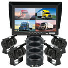 """7"""" Splitscreen Car Monitor 4x 4PIN CCD Rear View Camera 4x 10m Package For Truck"""