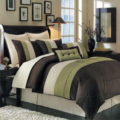 ALL SIZES shams /& Cushions 8PC-Hudson Comforter Set with matching skirt