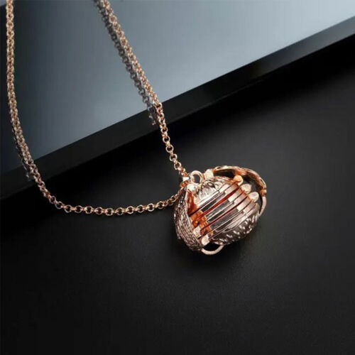 Locket Necklace Memorial Photo Angel Wing Silver Ball Pendant Expanding