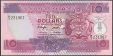 SOLOMON  ISLANDS  10  DOLLARS  1986  Prefix B/3  - P  15  Uncirculated Banknotes