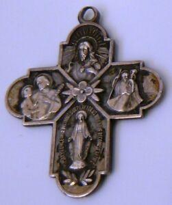 Vintage-Antaya-Sterling-925-Silver-Catholic-Scapular-FOUR-WAY-CROSS-Pendant