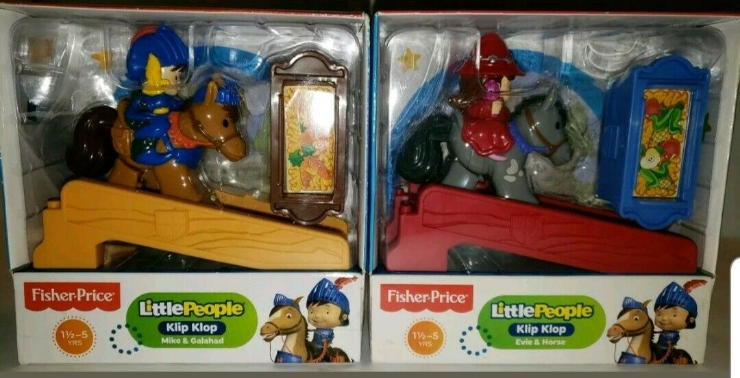B2 Fisher Price Little People Mike The Knight Klip Klop & Galahad Evie & Horse