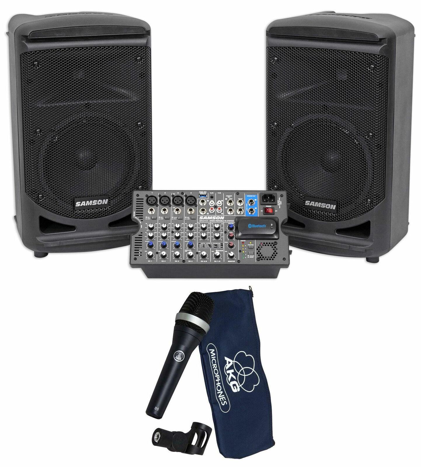 Samson Expedition XP800 8  Portable PA DJ Speaker System+Powerot Mixer+AKG Mic