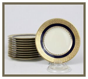 BLACK-KNIGHT-1925-41-SET-OF-11-BREAD-amp-BUTTER-PLATES-GOLD-ENCRUSTED-COBALT