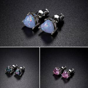 Fashion-Women-Fire-Opal-925-Silver-Heart-Ear-Stud-Earrings-Engagement-Jewelry