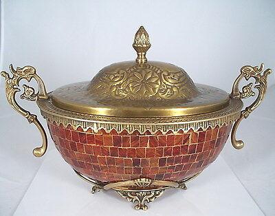 RK234 Indische Teekanne Kanne Messing verziert emailliert Indien