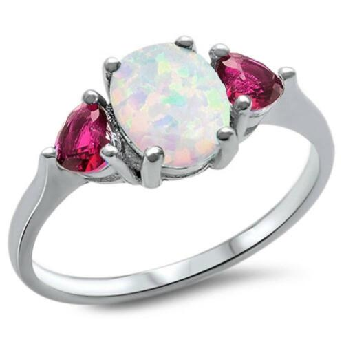 Oval White Opal /& Ruby Heart .925 Sterling Silver Ring