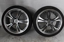JDM 18X9 OFFSET 45 ZENETTI MYSTIC  5X114  2 RIMS WRAPPED  HAIDA RACING TIRES