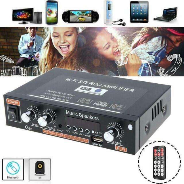 Stereo Verstärker Bluetooth Digital Power Amplifier FM Audio MP3 Player Surround