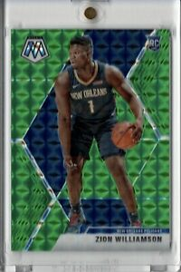 2019-20-Panini-Mosaic-Zion-Williamson-RC-Green-Prizm-Parallel-Refractor-Pelicans