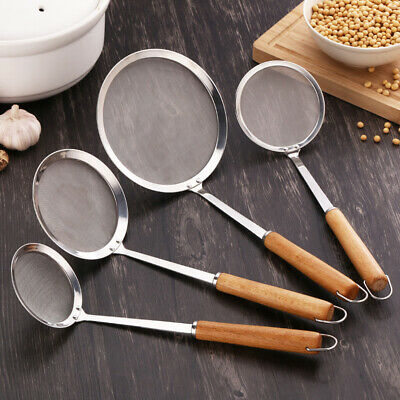Stainless Steel Cooking Oil Strainer Mesh Colander Oil Filter Spoon For Kitchen