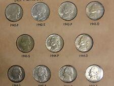 1942 Thru 1945 P,D,S Complete Set Of High Grade Jefferson War Nickels