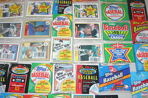 LOT-OF-300-OLD-UNOPENED-BASEBALL-CARDS-IN-PACKS-ONLY-TOPPS-CARDS