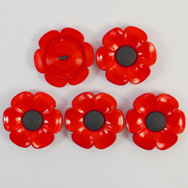 5 x big poppy buttons  red/black  38mm shank on back